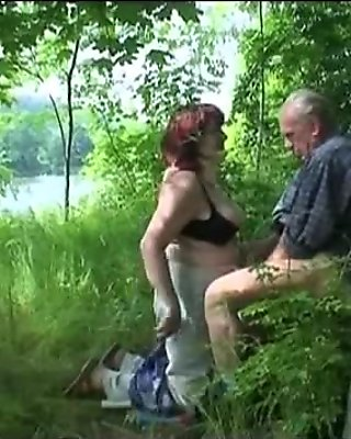 Granny and Grandpa fuck outdoor