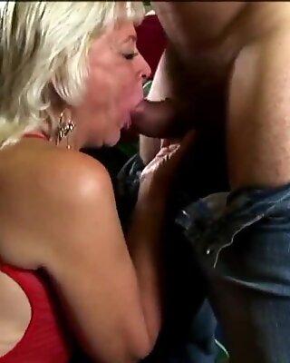 Cock hungry blonde old spunker sucks dick 4 a facial cumshot