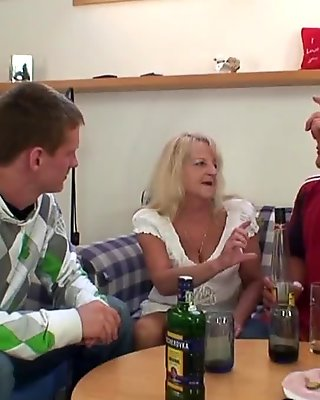 Partying guys fuck old blonde grandmother