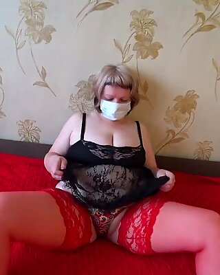 Mature bbw in stocking shakes a big butt in panties, and a girlfriend bangs her, lesbians pov.