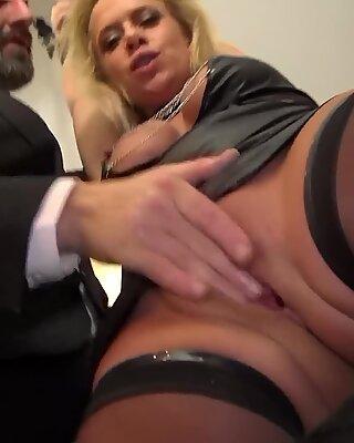 British skank Sasha Steele throated and fucked hard in ass