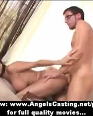 Busty brunette with boots fucking and sucking cock in