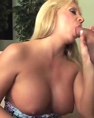Blonde big tits milf fucks great