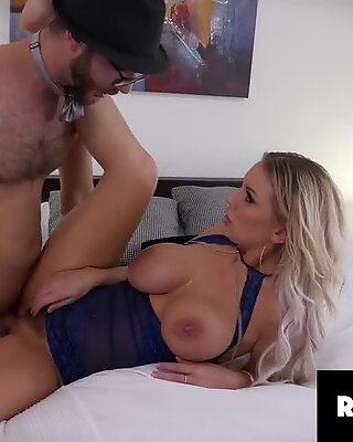 Big Tits Blondie Kenzie Taylor in sexy Blue Lingerie Fucks with Her Lover