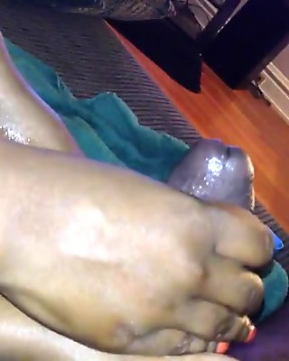 ebony handjob cum on feet