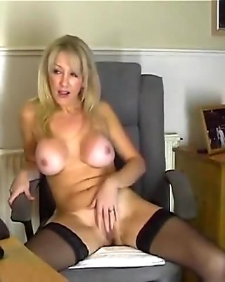 Hot mom in stockings showing her pussy