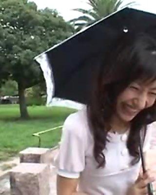 A guy fucks a mature Japanese girl's ass