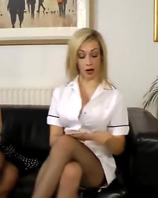 Strapon loving milf fingers a busty babe
