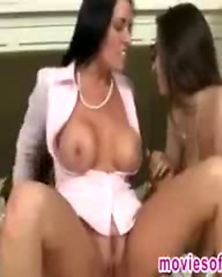 Big tits stepmom and her daughter amazing threesome action