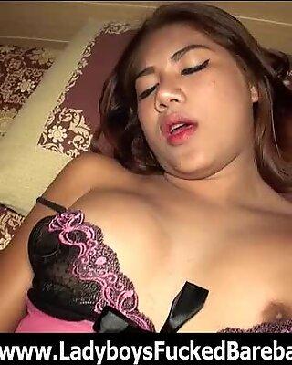 Ladyboy Enjoys Bareback Cum Swallow