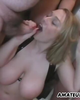 Busty chubby amateur girlfriend anal gangbang with cum