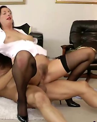European stocking milf fucks her man doggy style