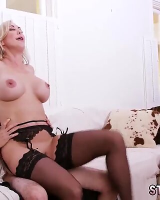Petite blonde milf Halloween Special With A Threesome