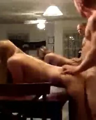 Good looking girlfriend fucked on dining table