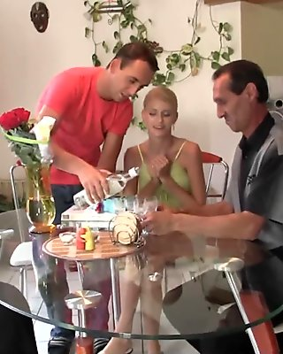 Old couple fuck teen at her birthday