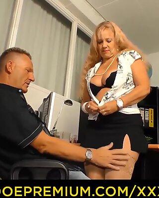 XXX OMAS - German blonde granny fucked in office