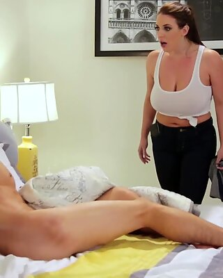Chubby MILF maid Angela White with massive tits served her big cocked landlord