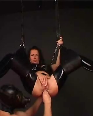 Sweet Kinkie Caned In Fetish Latex Sex