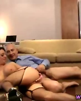 Big titted brunette is pussyfucked by mature cock