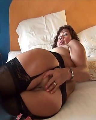 Check My MILF in black opaque stockings playing with her pus