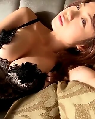 Gorgeous Asian kitty is basking in her own bed in the morning.