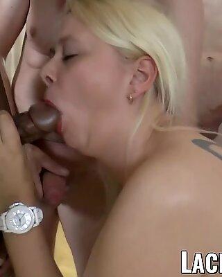 LACEYSTARR - Interracial gangbang for cum eating GILF