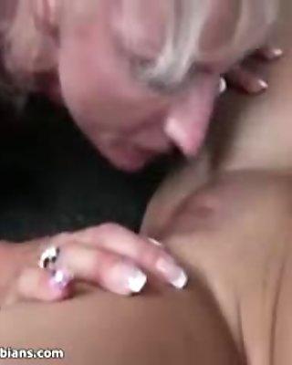 Horny mature lesbians go crazy licking