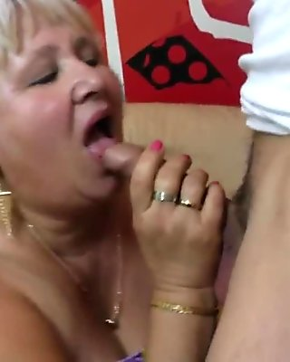 Hairy grandma sucking and fucking her ass off