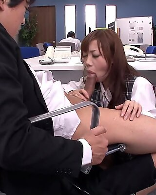 Cock sucking Asian secretary receives a mouthful f