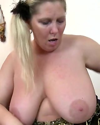 Curvy huge breasted BBW mother with hungry pussy