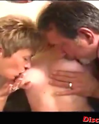 Mom and dad teach their daughter how to suck and fuck