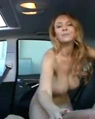 mature ride big cock in car