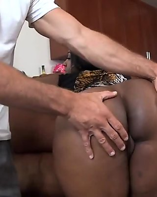 barely fitting the fat dick in her gaped ass