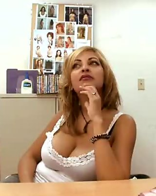 Beauty rides on a huge cock