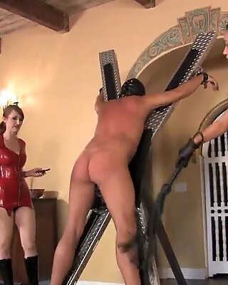 three mistresses whip slave