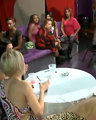 Naughty mature ladies suck a strippers cock in the club