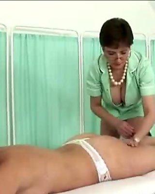 Milf nurse massages slut patient