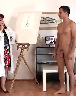 Hot grandma enjoys riding his big meat