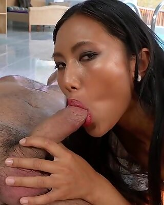 Badass fellow seducing petite Thai chick