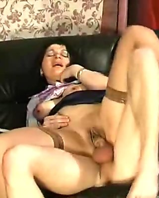 Hairy guy lick and fuck brunette mature woman