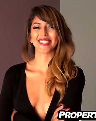 Hot Latina seduces and fucks landlord in apartment
